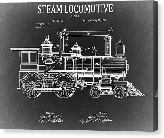 Train Conductor Canvas Print - 1894 Steam Locomotive Blueprint by Dan Sproul