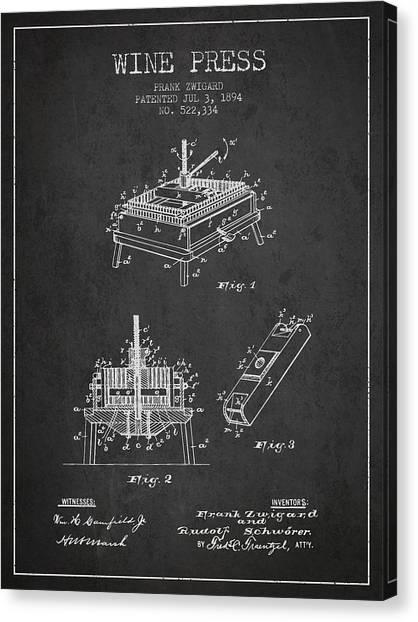 Wine Barrels Canvas Print - 1894 Wine Press Patent - Charcoal by Aged Pixel