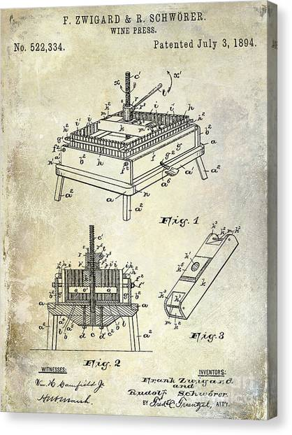 Wine Barrels Canvas Print - 1894 Wine Press Patent by Jon Neidert
