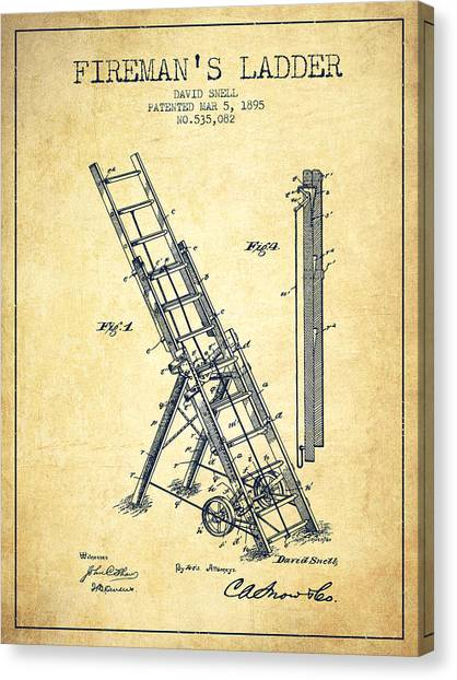 Firefighters Canvas Print - 1895 Firemans Ladder Patent - Vintage by Aged Pixel