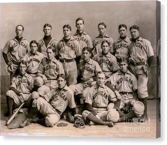 University Of Michigan Canvas Print - 1896 Michigan Baseball Team by Jon Neidert