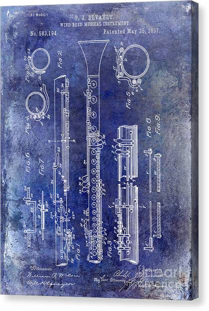 Clarinets Canvas Print - 1897 Clarinet Patent Blue by Jon Neidert