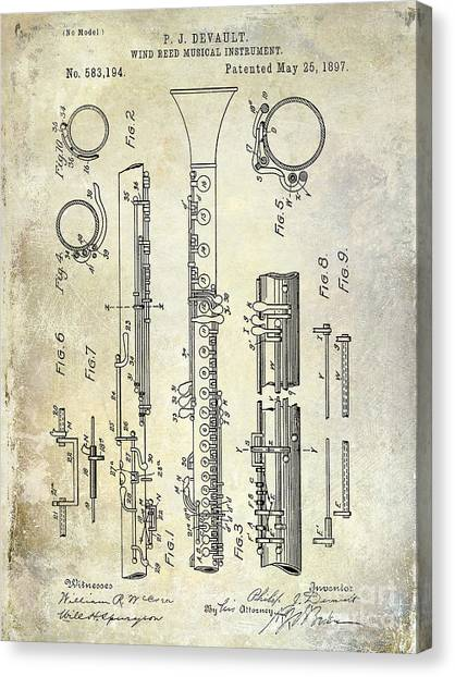 Clarinets Canvas Print - 1897 Clarinet Patent  by Jon Neidert