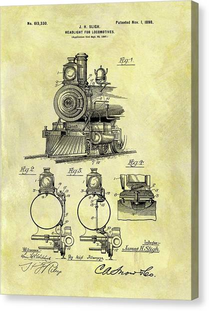 Train Conductor Canvas Print - 1898 Locomotive Patent by Dan Sproul
