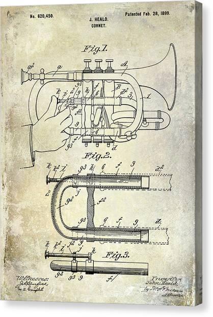 Brass Instruments Canvas Print - 1899 Cornet Patent by Jon Neidert