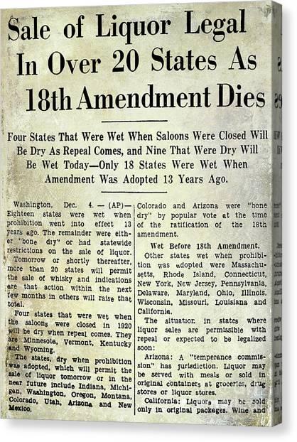 Vodka Canvas Print - 18th Amendment Article by Jon Neidert