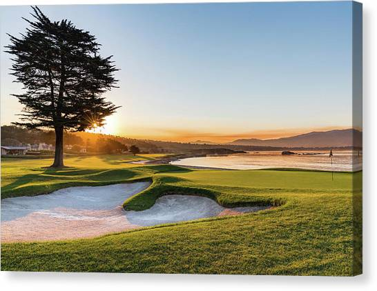 Golf Course Canvas Print - 18th At Pebble Beach by Mike Centioli