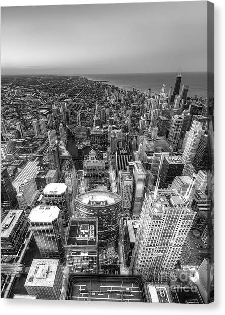 Chicago Skyline Art Canvas Print - Chicago From Above by Twenty Two North Photography