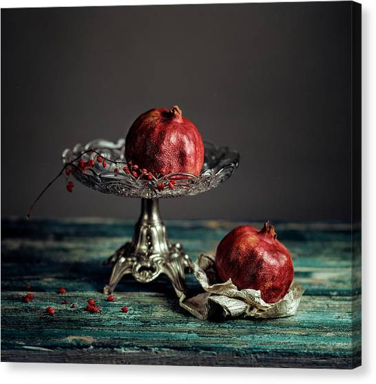 Berries Canvas Print - Pomegranate by Nailia Schwarz