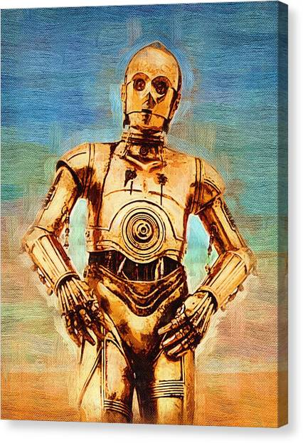 C-3po Canvas Print - Star Wars Galactic Heroes Poster by Larry Jones
