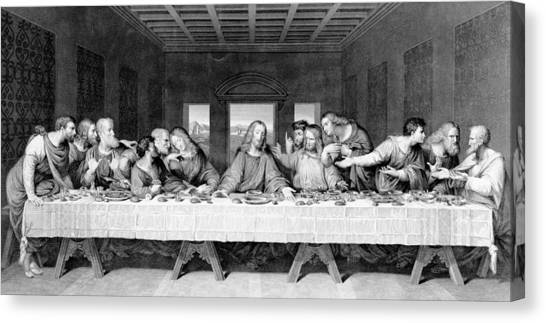 The Christ Ink Drawing Canvas Print - The Last Supper by Leonardo Da Vinci
