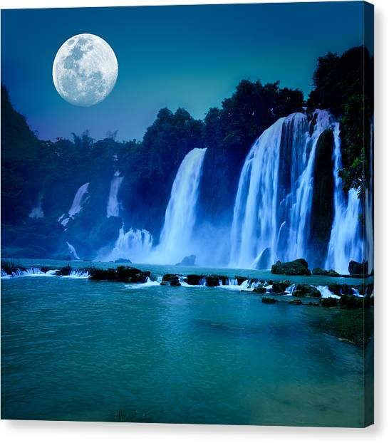 Night Lights Canvas Print - Waterfall by MotHaiBaPhoto Prints
