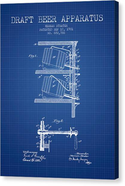Brewery Canvas Print - 1901 Draft Beer Apparatus - Blueprint by Aged Pixel