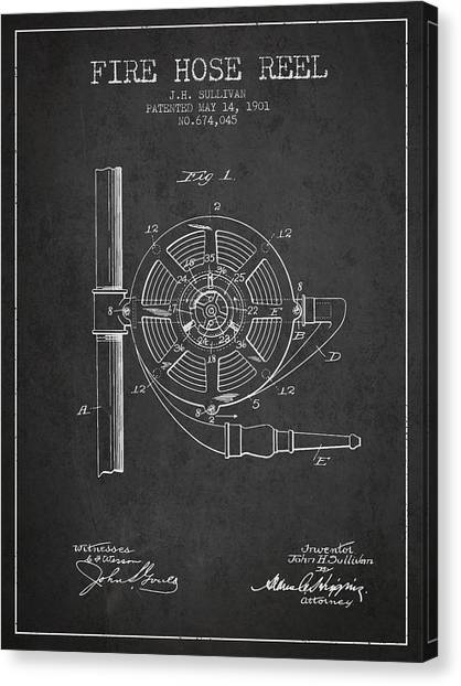Firefighters Canvas Print - 1901 Fire Hose Reel Patent - Charcoal by Aged Pixel