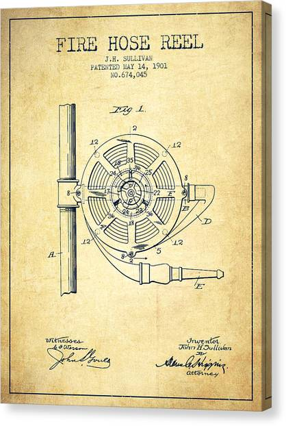 Firefighters Canvas Print - 1901 Fire Hose Reel Patent - Vintage by Aged Pixel