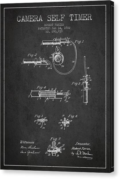 Vintage Camera Canvas Print - 1902 Camera Self Timer Patent - Charcoal by Aged Pixel