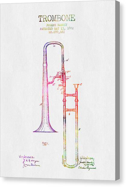 Trombones Canvas Print - 1902 Trombone Patent - Color by Aged Pixel