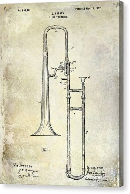 Brass Instruments Canvas Print - 1902 Trombone Patent by Jon Neidert