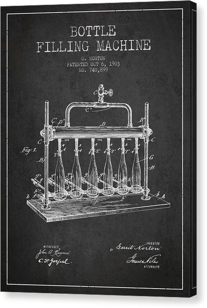 Champagne Canvas Print - 1903 Bottle Filling Machine Patent - Charcoal by Aged Pixel