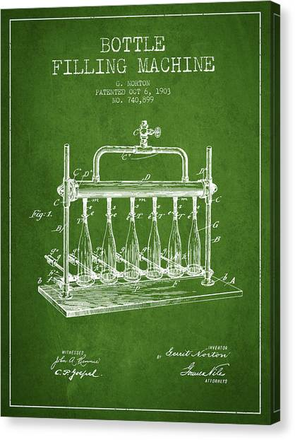 Brewery Canvas Print - 1903 Bottle Filling Machine Patent - Green by Aged Pixel