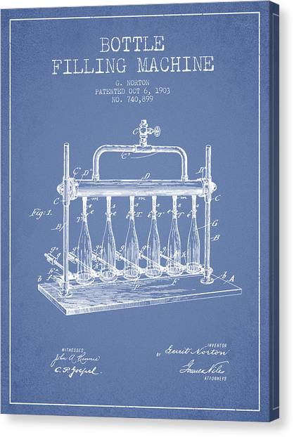 Brewery Canvas Print - 1903 Bottle Filling Machine Patent - Light Blue by Aged Pixel