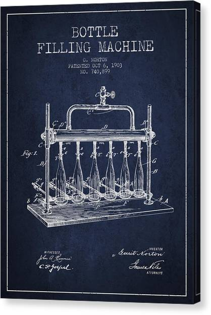 Brewery Canvas Print - 1903 Bottle Filling Machine Patent - Navy Blue by Aged Pixel