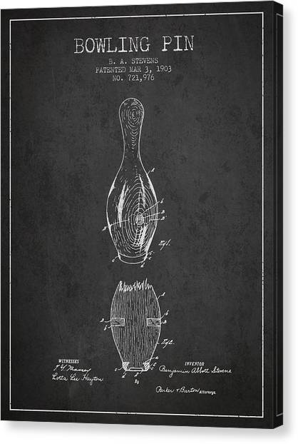 Bowling Alley Canvas Print - 1903 Bowling Pin Patent - Charcoal by Aged Pixel