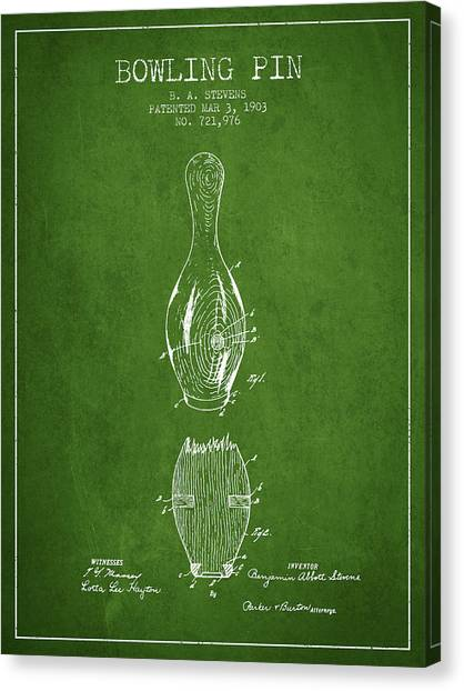 Bowling Alley Canvas Print - 1903 Bowling Pin Patent - Green by Aged Pixel
