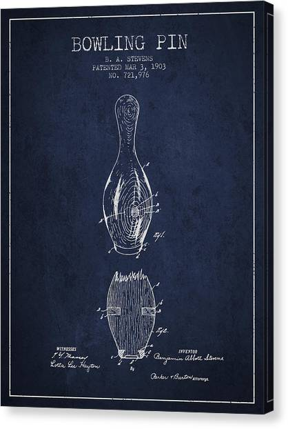 Bowling Alley Canvas Print - 1903 Bowling Pin Patent - Navy Blue by Aged Pixel