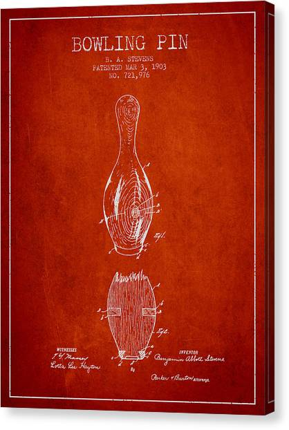 Bowling Alley Canvas Print - 1903 Bowling Pin Patent - Red by Aged Pixel