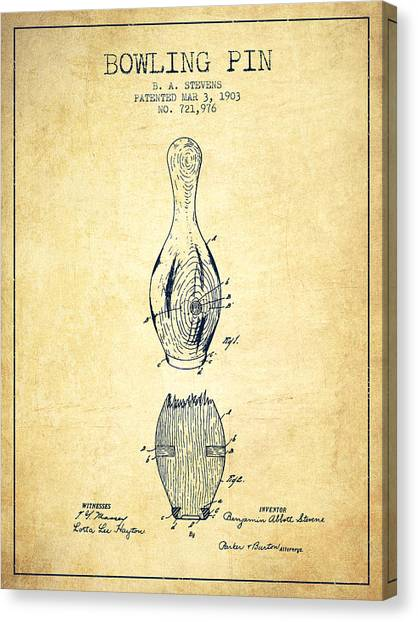 Bowling Canvas Print - 1903 Bowling Pin Patent - Vintage by Aged Pixel