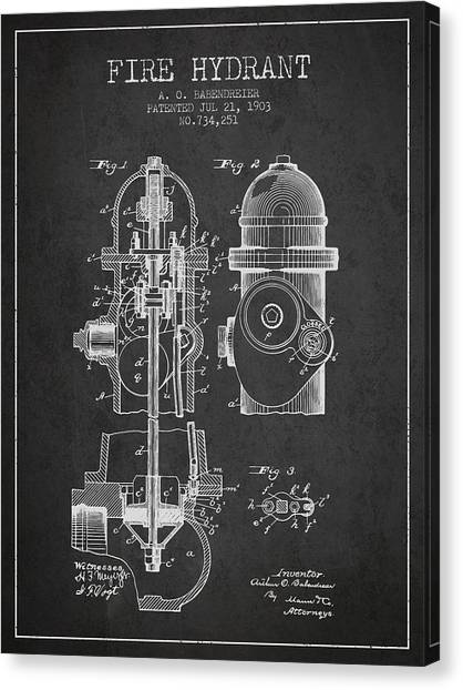 Firefighters Canvas Print - 1903 Fire Hydrant Patent - Charcoal by Aged Pixel