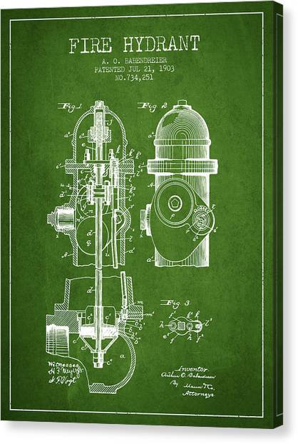 Firefighters Canvas Print - 1903 Fire Hydrant Patent - Green by Aged Pixel
