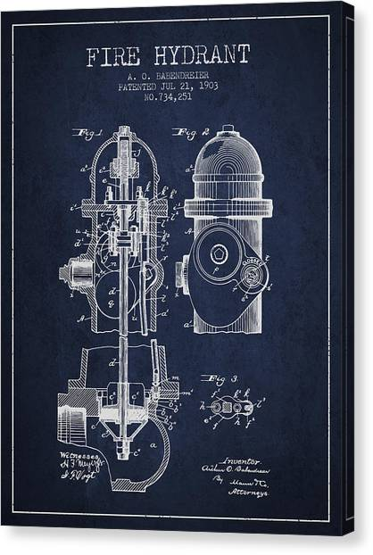Firefighters Canvas Print - 1903 Fire Hydrant Patent - Navy Blue by Aged Pixel