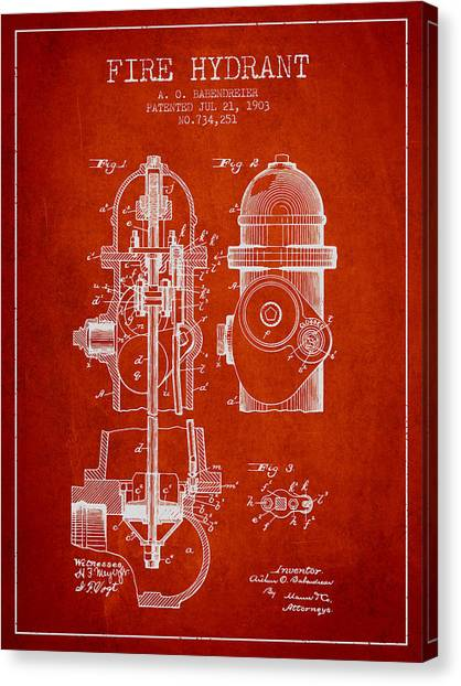 Firefighters Canvas Print - 1903 Fire Hydrant Patent - Red by Aged Pixel