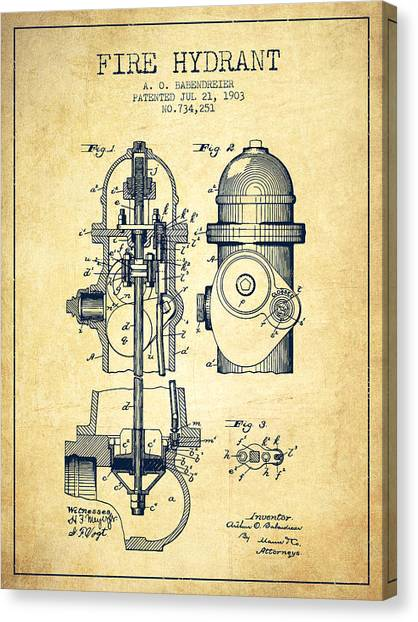 Firefighters Canvas Print - 1903 Fire Hydrant Patent - Vintage by Aged Pixel