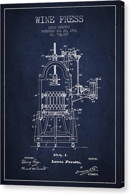 Wine Barrels Canvas Print - 1903 Wine Press Patent - Navy Blue 02 by Aged Pixel