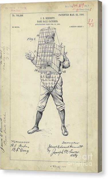 Catchers Canvas Print - 1904 Baseball Catcher Patent by Jon Neidert