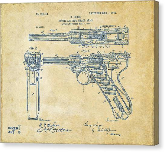 X Ray Canvas Print - 1904 Luger Recoil Loading Small Arms Patent - Vintage by Nikki Marie Smith