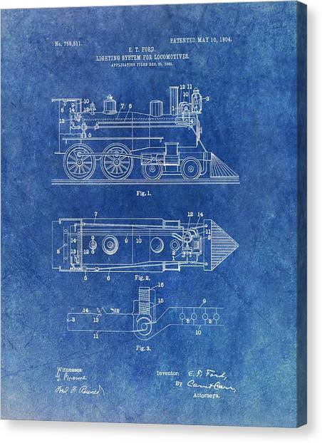 Train Conductor Canvas Print - 1904 Train Patent by Dan Sproul
