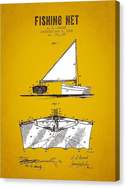 Bass Fishing Canvas Print - 1905 Fishing Net Patent - Yellow Brown by Aged Pixel