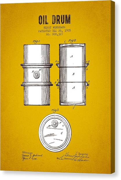 Oil Rigs Canvas Print - 1905 Oil Drum Patent - Yellow Brown by Aged Pixel
