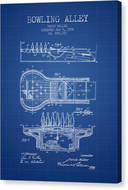 Bowling Alley Canvas Print - 1906 Bowling Alley Patent - Blueprint by Aged Pixel
