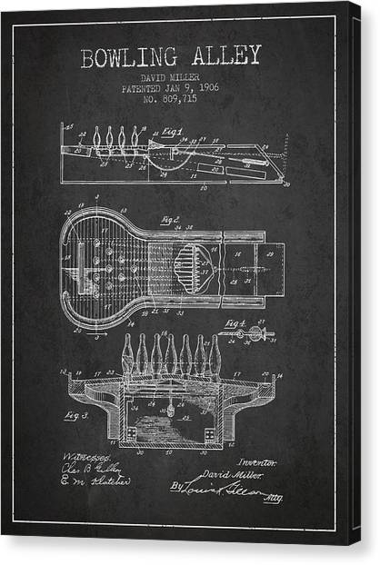 Bowling Alley Canvas Print - 1906 Bowling Alley Patent - Charcoal by Aged Pixel