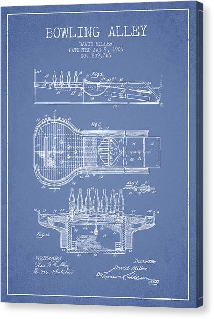 Bowling Alley Canvas Print - 1906 Bowling Alley Patent - Light Blue by Aged Pixel