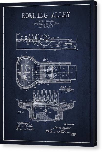 Bowling Alley Canvas Print - 1906 Bowling Alley Patent - Navy Blue by Aged Pixel