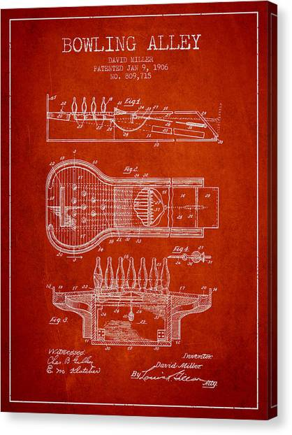 Bowling Alley Canvas Print - 1906 Bowling Alley Patent - Red by Aged Pixel