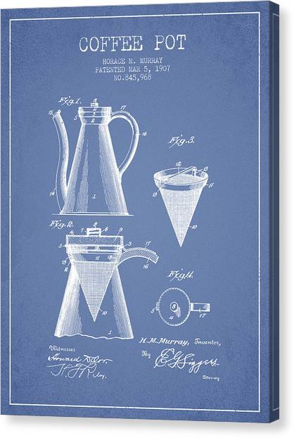 Lovers Drawing Canvas Print - 1907 Coffee Pot Patent - Light Blue by Aged Pixel
