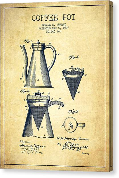Coffee Canvas Print - 1907 Coffee Pot Patent - Vintage by Aged Pixel