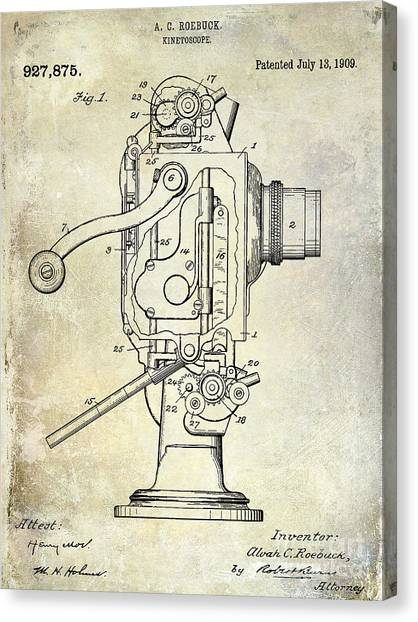 Vintage Camera Canvas Print - 1909 Kinetoscope Patent  by Jon Neidert